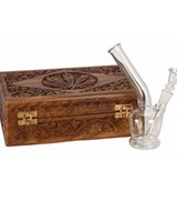Glass Bong in Wooden Case